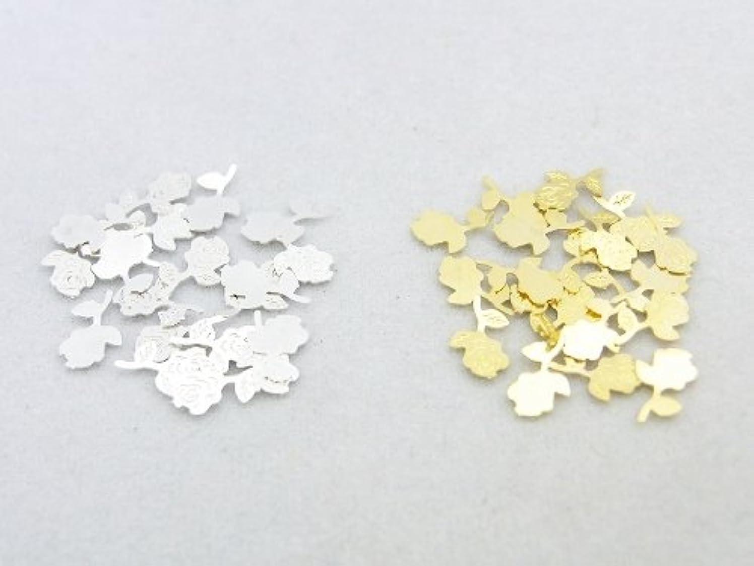 歯痛太陽禁輸紗や工房 メタルアートパーツ メタリックパーツ ローズ薔薇一輪 ゴールド&シルバー 各20枚