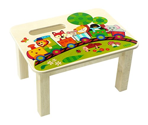 Hess houten speelgoed 30289 – voetenbank van hout, spoorwegen, ca. 34 x 25 x 19 cm.