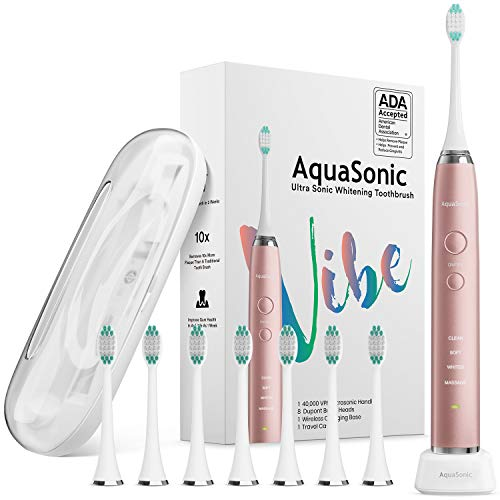 AquaSonic VIBE Series Ultra Whitening Pink Electric Toothbrush - 8 DuPont Brush Heads & Travel Case Included - Sonic 40,000 VPM Motor & Wireless Charging - 4 Modes w Smart Timer - Satin Rose Gold