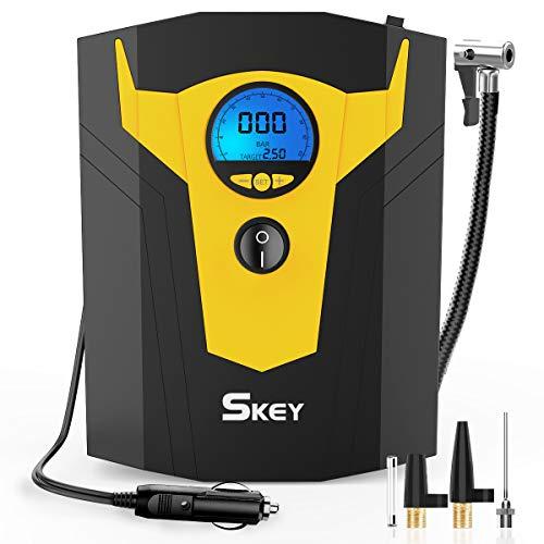 SKEY Compresseur Voiture 12v, Gonfleur 12v, Compresseur d'air Portatif 150 PSI avec LED, LCD Ecran, 4 Adapteurs