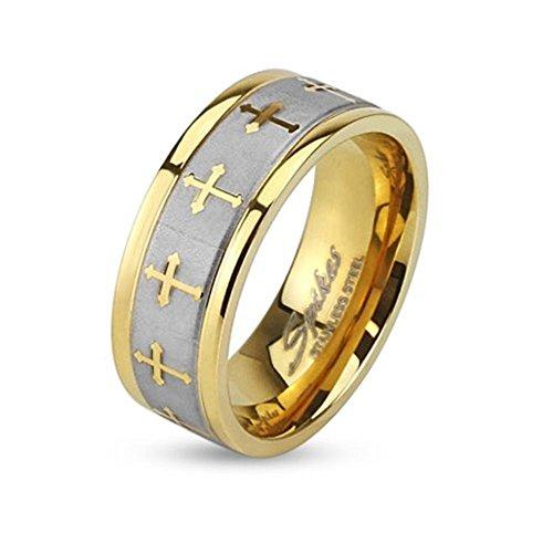 Paula & Fritz® Ring aus Edelstahl Chirurgenstahl 316L Silber 8mm breit goldver.