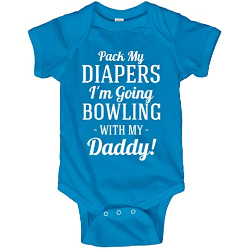 FUNNYSHIRTS.ORG Funny I'm Going Bowling with Daddy: Infant Bodysuit Turquoise