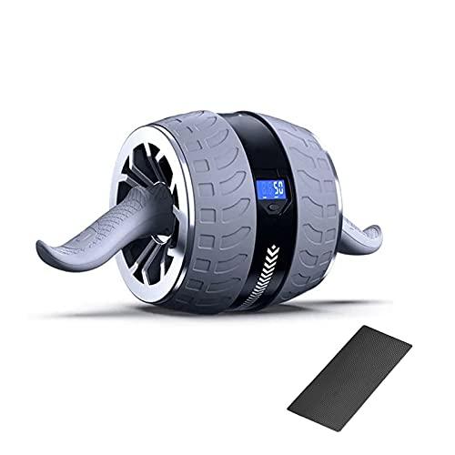 HAIRLL Bauchroller Bauchtrainer Ab Roller Intelligentes Zählen Automatischer Rebound Mit Rutschfester Kniematte Tragbare Geräte Für Heimtraining Muskelkraft Fitness,Grau