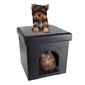 PETMAKER Pet House Ottoman- Collapsible Multipurpose Cat or Small Dog Bed Cube & Footrest with Cushion Top & Interior Pillow by (Faux Leather)