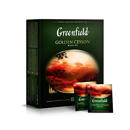 Greenfield Golden Ceylon, Schwarzer Ceylon Tee, Single Origin, Pure Sri Lanka Black Tea 100 Teebeutel, tea bags, 100 Tassen, 200g