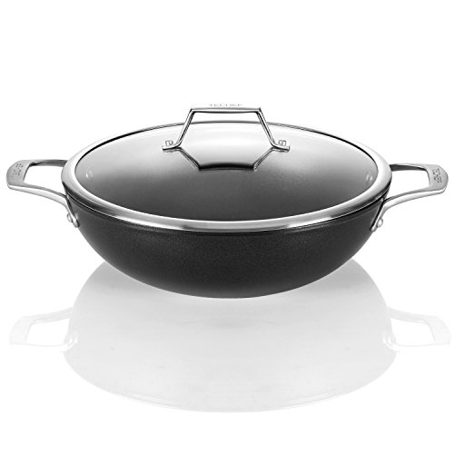 TECHEF - Onyx Collection, 12-Inch Wok/Stir Fry Pan with Glass Lid, coated with New Teflon Platinum Non-Stick Coating (PFOA Free)