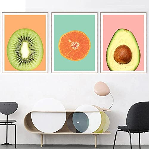 ZHJJD Kiwi Oranges Fruit Wall Art Canvas Painting Nordic Minimalist Posters And Prints Modern Kitchen Restaurant Decor Wall Pictures 40x60cmx3 No Frame