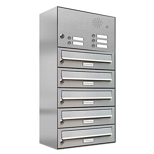 AL Briefkastensysteme 5er Briefkastenanlage mit Klingel, Edelstahl, Premium Briefkasten DIN A4, 5 Fach Postkasten modern Aufputz