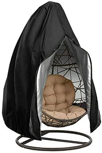 Laelr Funda para silla de huevo, impermeable, con cremallera, cubierta para silla colgante de patio, 190,5 x 114,3 cm, protector para exteriores, a prueba de polvo, para silla de huevo columpio, tela Oxford 210D, color negro