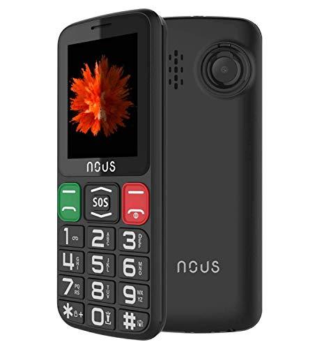 NOUS Seniorenhandy, Seniorentelefon mit großen Tasten & ohne Vertrag, großen Tasten, 2.4 Zoll Farbdisplay Notruftaste Taschenlampe, Kamera, GSM, Dual SIM