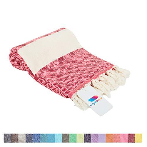 Realgrandbazaar Turkish Towels Beach Towel %100 Cotton - Pre Washed, Softly 39 x 69 Beach Towels Oversized Clearance, Pestemal, Peshtemal, Hammam, Large Bath Towels, Super Soft Towel (Red)