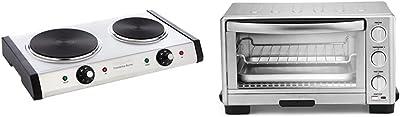 "Cuisinart Cast-Iron Double Burner, 11.5""(L) x 19.5""(W) x 2.5""(H), Silver & TOB-1010 Toaster Oven Broiler, 11.77"" x 15.86"" x 7.87"", Silver"
