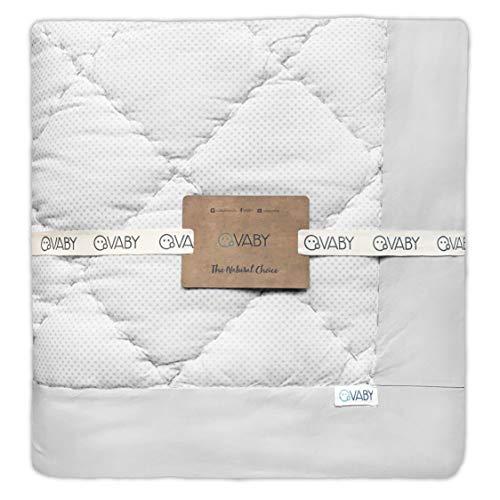VABY - Krabbeldecke OEKO-TEX® (Grau), aus Baumwolle 120x120 cm, handgefertigt, Laufgittereinlage, Spieldecke quadratisch, Junge und Mädchen