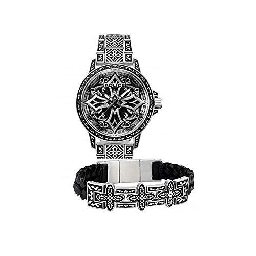 POLICE PJ.26292BSS/01 Herren Armband BRONXDALE Edelstahl Silber Schwarz 21 cm