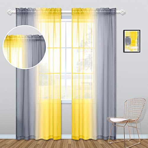 Yellow and Gray Curtains 84 Inch Length for Living Room Set of 2 Panels Rod Pocket Window Drapes Ombre Sunflower Colored Patterned Print Curtains for Bedroom 50x84 Inches Long Yellow and Grey