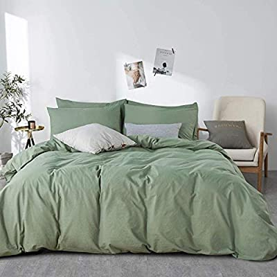 JELLYMONI Green 100% Washed Cotton Duvet Cover Set, 3 Pieces Luxury Soft Bedding Set with Zipper Closure. Solid Color Pattern Duvet Cover Queen Size(No Comforter) by JELLYMONI