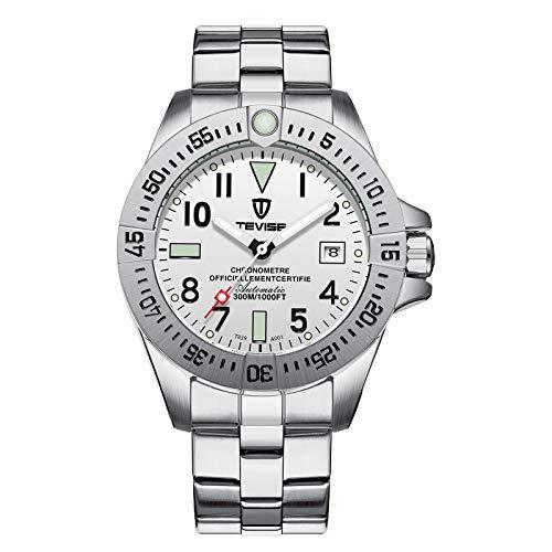 FENKOO Schöne Armbanduhren TEVISE mechanische Uhr Mode Automatik Stahlband Herrenuhr (Color : 5)