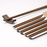 LakeTian 10 Pairs Ironwood Chopsticks, Reusable Dishwasher Safe Chinese, Korea, Handmade, Dark Brown 9.56 inches