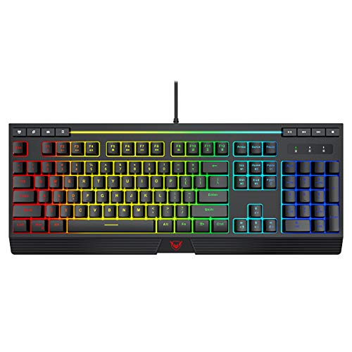 PICTEK RGB Gaming Keyboard, 8 Individual Multimedia Keys, Wired Adjustable Backlight Keyboard with Non-Fading Keycaps, 25 Keys Anti-ghosting, Splash-Proof, Ideal for Windows Mac Gaming