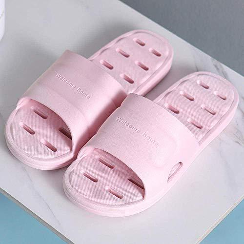 CCJW Zapatillas de ducha con espalda abierta, sandalias de masaje de fondo suave y pantuflas, sandalias antideslizantes y zapatillas A-pink_37-38, sandalias de punta abierta kshu