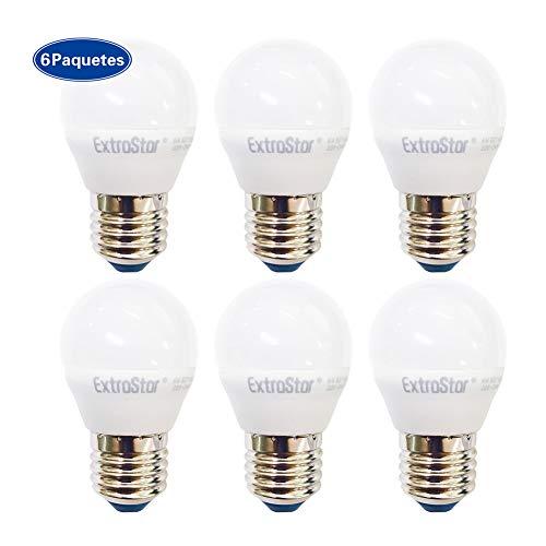 ExtraStar LED Globo bombilla E27 ES G45 6W Luz natural 4200K 6 unidades [Clase de eficiencia energética A+]