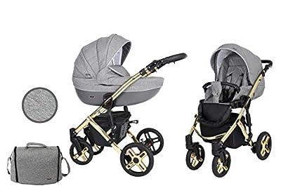 Kunert cochecito de bebé MILA PREMIUM CLASSIC silla de paseo silla de coche asiento de bebé juego completo 2 en 1 (Tela vaquera con grafito, Color del marco: Oro, 2en1)