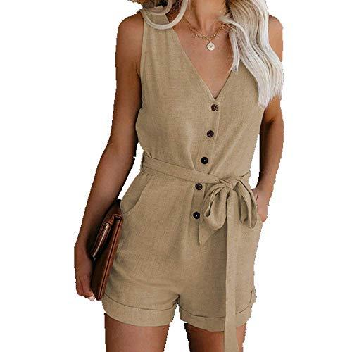 Mono casual con cordones para mujer, de verano, sin mangas, con botones, talla grande, elegante Verde caqui XL