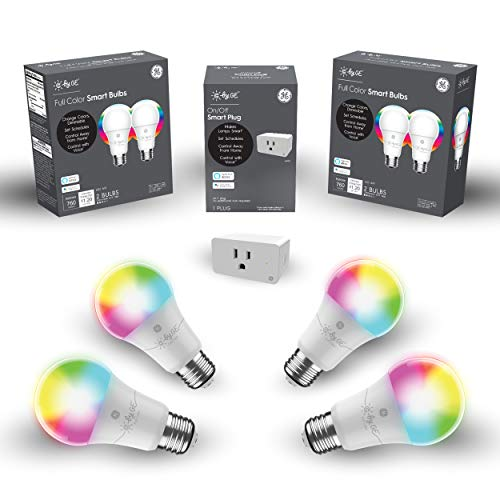 C by GE Smart Bundle Pack with 4 Smart Bulbs and Smart Plug (4 LED A19 Full Color Bulbs + On/Off Smart Plug), Works with Alexa and Google Assistant, Wi-Fi Enabled (Packaging May Vary)