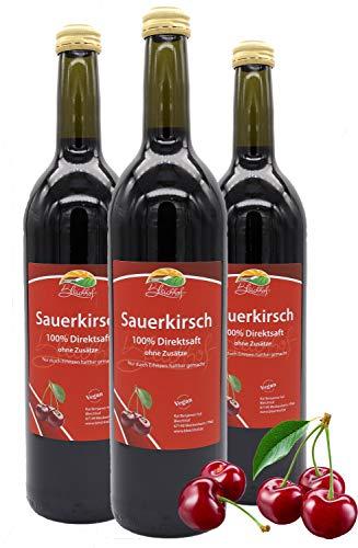 Bleichhof Sauerkirschsaft - 100% Direktsaft OHNE Zuckerzusatz und Zusatzstoffe, vegan (3x 0,72l)