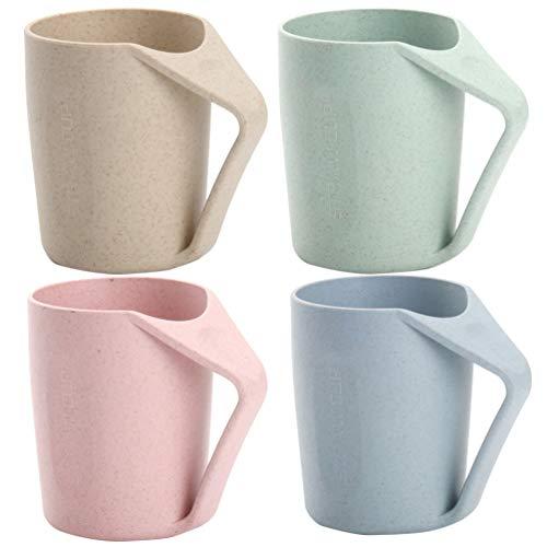 Cabilock 6Pcs Taza de Paja de Trigo Tazas de Plástico con Asas para Agua Café Leche Jugo Té Parejas Adultos Estudiantes (Color Aleatorio)