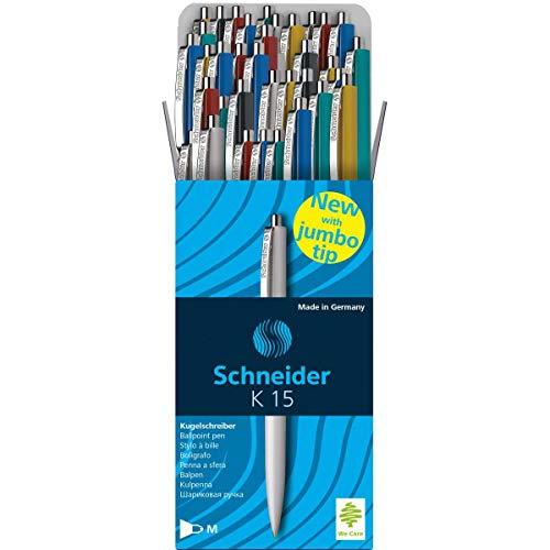 Schneider 3080, K-15 Pack de 50 bolígrafos de caligrafía, colores Surtidos
