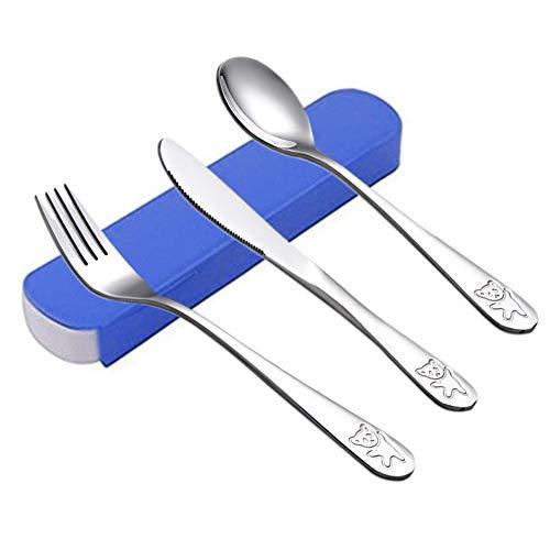 Posate Acciaio Inox Set portatile in acciaio inox posate da viaggio riutilizzabile Set da tavola per bambini - 1 Set / 3 pezzi (blu)