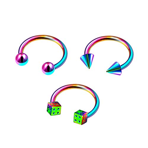 3Pcs Rainbow Anodized 16g 5/16 8mm Ring Horseshoe Piercing Jewelry Tragus Eyebrow Cartilage Rook Lip 3mm Cone Ball Dice M9924