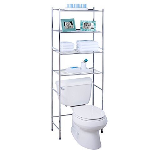 Honey-Can-Do BTH-05281 4-Tier Metal Bathroom Shelf Space Saver, 24.02 x 11.02 x...
