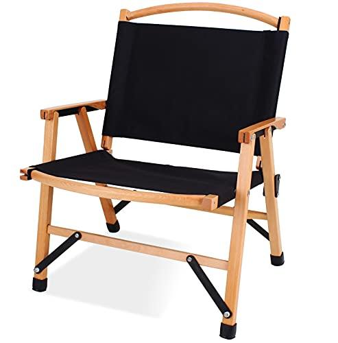 アウトドア 木製 クラシック 折りたたみ チェア 耐荷重120kg お釣り 登山 コンパク キャンプチェア 携帯便利 折りたたみ椅子 天然木 アウトドア折りたたみチェア(ブラック)