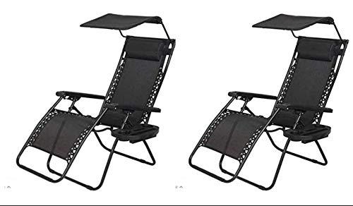 garden mile Twin Pack Black Zero Gravity Garden Sun Lounger Sun Bed Recliner Reclining Folding Reflexology Garden Furniture Chair x2