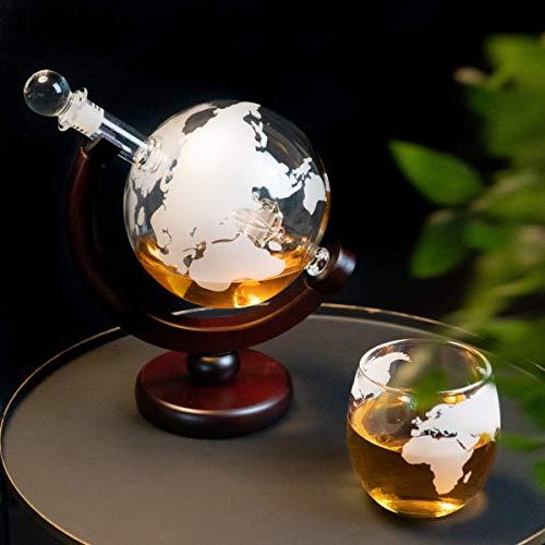 Whisiskey® Whiskey Karaffe - Globus - Whisky Karaffe Set - 900 ml - Geschenk für Männer und Frauen - Inkl. 9 Whisky-Steine und Schenktülle - 2