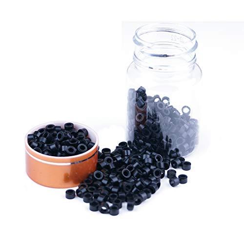 KOCONI 500 Pcs Silicon Micro Ring Silicon Rings Micro Links (5.0X3.0X3.0) Beads Silicone lined Micro Rings Beads Color #1 Black