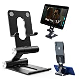 LEADNOVO Tablet Cell Phone Stand for Desk, [2020 New Upgrade] Single & Dual Phone Holder, Dual-axis Adjustable & Full Foldable Cradle Dock Compatible with All Phones, Nintendo Switch, Tablets (4-13')