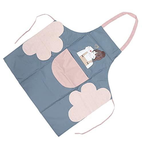 Delantal de cocina, lavable a máquina, modelo de belleza, impermeable, cosmético, delantal lindo con bolsillo para barbacoa para hornear para salón de uñas(gris)