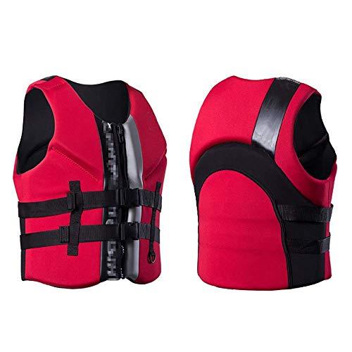 DBWIN Schwimmweste für Schwimmwesten für Kinder und Erwachsene, professionelle Schwimmhilfe 50N Auftriebshilfe mit Reißverschluss Leise Unisex Schwarz Rot, XXXL