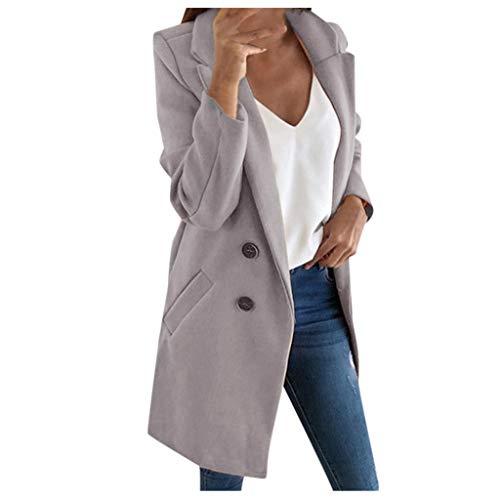iHENGH Damen Frau Langen Wollmantel Elegante Mischung Mäntel schlanke weibliche Langen Mantel Oberbekleidung Jacke(Grau, M)