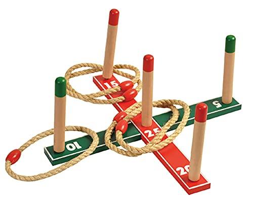 MIJOMA Wurfspiel Ringwurfspiel Ringe werfen Spiel für Outdoor Indoor Spielspaß, aus Holz mit 5 Wurfringen aus Sisal, Geschenk für Kinder
