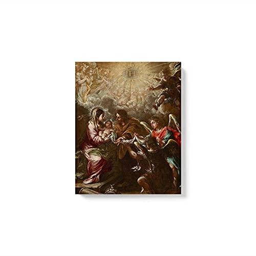 FZSMXH Cuadro sobre Lienzo 50x70cm Sin MarcoThe Naming of Jesus by Juan DE Valdes Leal Decor Sala de Estar Dormitorio Decoración Grabados