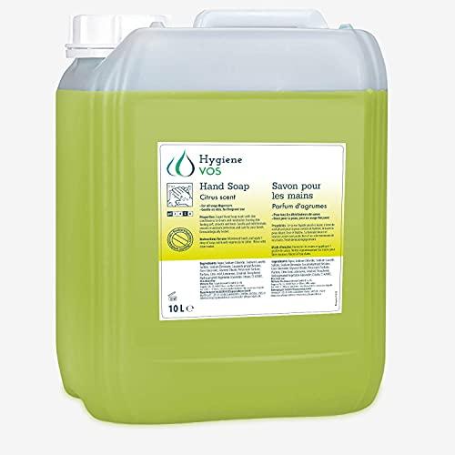 Hygiene VOS Savon Liquide 10000ml Citro pour les Mains pH Neutre pour une Utilisation Quotidienne. Formule Extra Douce et Ingrédients Biodégradables. Bouteille Économique 10 Ltrs