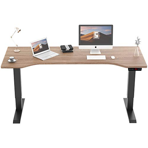 SMAGREHO Height Adjustable Electric Standing Desk for Home Office, 55 x 23.6 inches Splice Board, Standing Workstation with Memory Controller, Black Frame/French Oak Grey Desktop