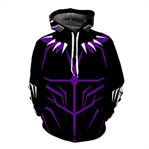 GYMAN Avengers Black Panther Hoodies Windproof Fleece Pullover Sweatshirts Casual Jacket Child Adult 3D Print Coat With Kangaroo Pocket For Warm Winter Clothing,1-4X