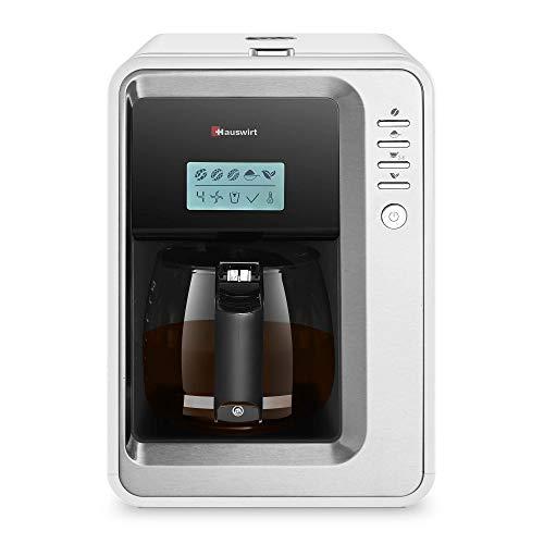 Hauswirt Ekspres do kawy, w pełni automatyczny ekspres do kawy, 3 stopnie mielenia, płyta podgrzewająca i automatyczne wyłączanie, zdejmowany zbiornik na wodę, ekspres do kawy ze szklanym dzbankiem na 2-6 filiżanek