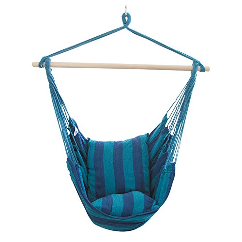 MINI Boutique Chaise pivotante rayée à Corde Suspendue pour hamac, 2 Coussins de siège Inclus Chaise pivotante Portable Patio Jardin Suspendu