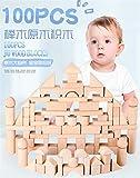 FC Bebé juguetes educativos bloques de construcción for niños trozo de madera de 100 barriles de bloques de madera del bebé de la primera infancia juguetes educativos bloques de construcción de madera